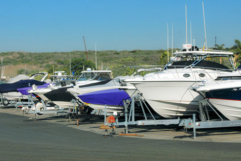 Boats in Dry Storage At Newport Dunes Resort and Marina.